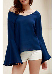 Blue Loose Scoop Collar Flare Sleeve Blouse - Blue M