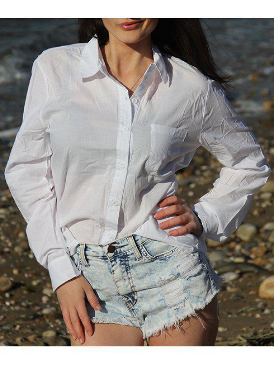 سهل طويل الأكمام فضفاض المناسب قميص رسمي - أبيض L