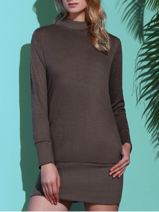 Long Sleeve High Neck Mini Tight Dress - Cinzento M