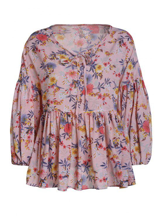 fashion Lace-Up Floral Print Peplum Blouse - PINK ONE SIZE(FIT SIZE XS TO M)