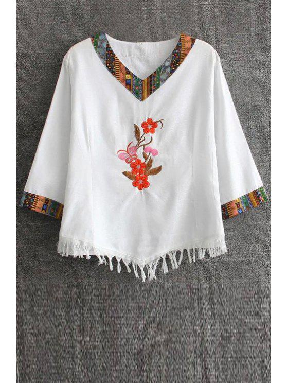 Floral brodé T-shirt ethnique - Blanc 2XL