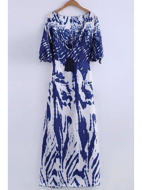 fancy Deep V Neck Printed Long Dress - WHITE XL