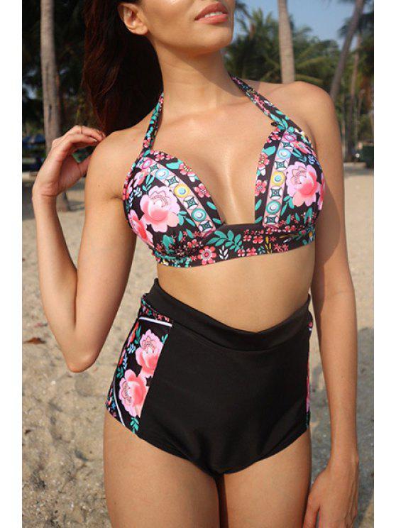 hot High Waisted Floral Print Bikini - BLACK S