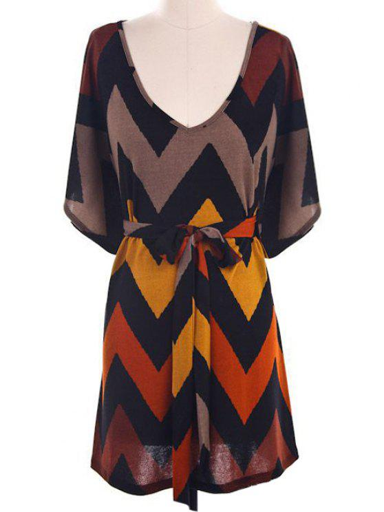 Batwing Sleeve Chevron Stripe Dress - Multicolore M