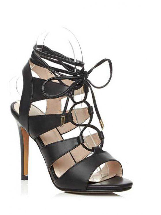chic Lace-Up Hollow Out Stiletto Heel Sandals - BLACK 37