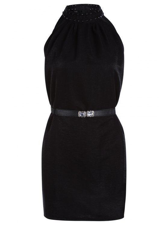 Color sólido del remache redondo vestido sin mangas del cuello - Negro Un tamaño(Montar tam