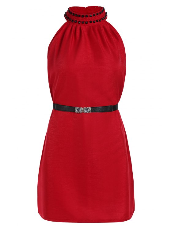 affordable Solid Color Rivet Round Neck Sleeveless Dress - RED ONE SIZE(FIT SIZE XS TO M)