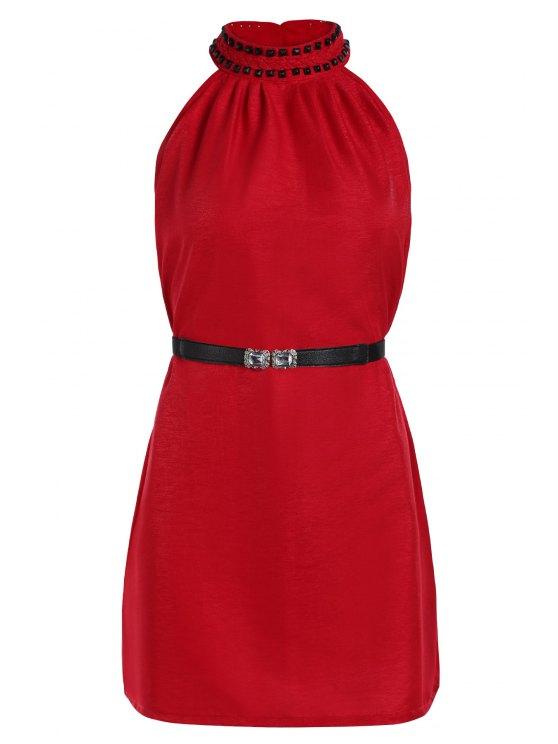 Color sólido del remache redondo vestido sin mangas del cuello - Rojo Un tamaño(Montar tam
