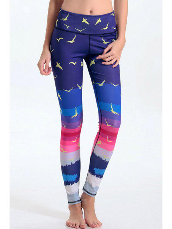 shops Multicolored Printed Tight Fit Ankle Leggings - PURPLISH BLUE L