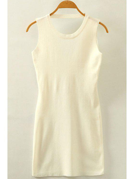 ladies Packet Buttock Hollow Out Round Neck Sleeveless Dress - WHITE ONE SIZE(FIT SIZE XS TO M)