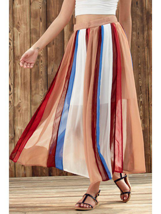 affordable Color Block High Waist Chiffon Skirt - COLORMIX L
