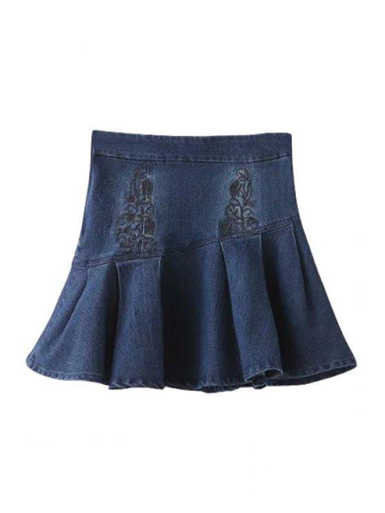 Broderie taille haute Denim A Jupe - Bleu Foncé S