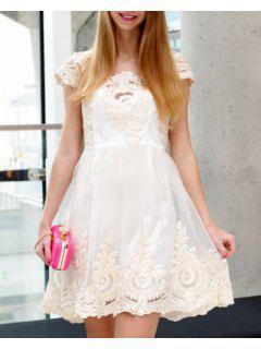 Vintage Encolure Carrée Taille Haute Dentelle Et De La Gaze Spliced robe De Bal Pour Les Femmes - Blanc Cassé L