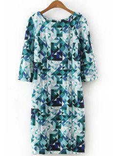 3/4 Sleeve Diamond Print Dress - Blue M