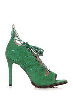 Lace-Up Solid Color Peep Toe Shoes - Green 39
