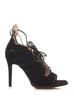Lace-Up Solid Color Peep Toe Shoes - Black 39