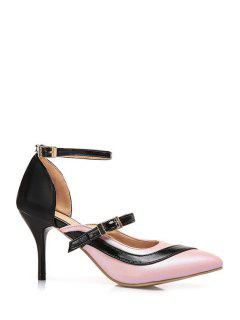 Color Block Buckle Pointed Toe Pumps - Pink 39