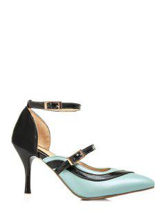 Color Block Buckle Pointed Toe Pumps - Blue 39