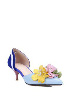 Flower Color Block Two-Piece Pumps - Blue 35