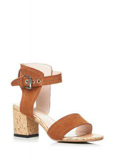 Ankle-Wrap Solid Color Chunky Heel Sandals - Light Brown 38