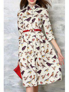 Swallow Print Shirt Collar 3/4 Sleeve Dress - Off-white Xl