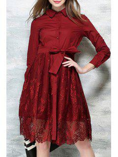 Lace Spliced Bowknot Turn-Down Collar Long Sleeve Dress - Wine Red Xl