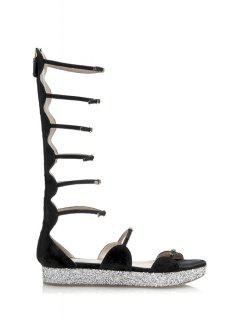 Flat Heel Buckles Black Sandals - Black 39