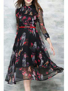 Chiffon Splicing Printed Stand Neck Long Sleeve Dress - Black S