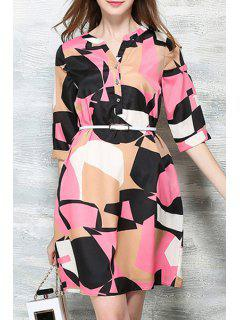 Hit Color Printed Stand Neck Half Sleeve Dress - Pink Xl