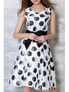 Bowknot Polka Dot Round Neck Sleeveless Dress - White M