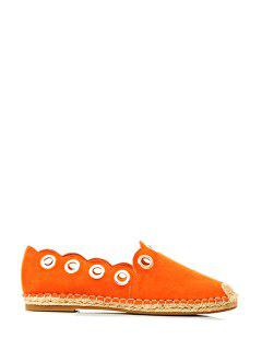 Solid Color Metallic Eyelet Flat Shoes - Orange 35