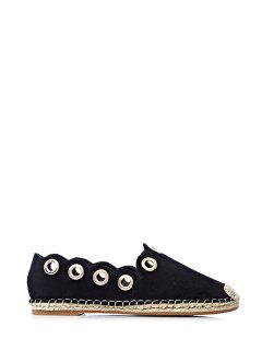 Solid Color Metallic Eyelet Flat Shoes - Black 39