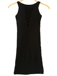 Packet Buttock Cut Out Round Neck Sleeveless Dress - Black