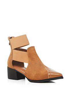 Elastic Band Splicing Chunky Heel Pumps - Brown 39