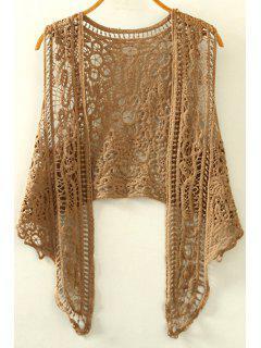 Ausschnitte Unregelmäßige Kragenärmel Crochet Bluse - Khaki