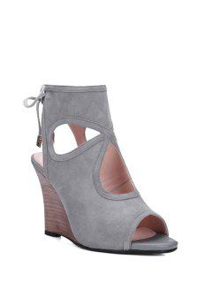 Peep Toe Hollow Out Wedge Heel Sandals - Gray 39