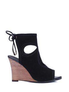 Peep Toe Hollow Out Wedge Heel Sandals - Black 39