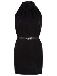 Solid Color Rivet Round Neck Sleeveless Dress - Black
