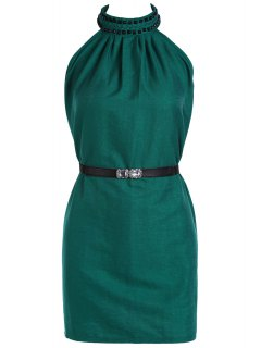 Solid Color Rivet Round Neck Sleeveless Dress - Green