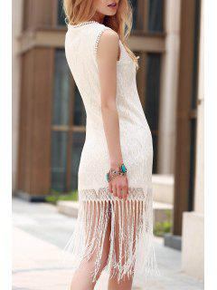 Solid Color Tassels Round Neck Sleeveless Lace Dress - White