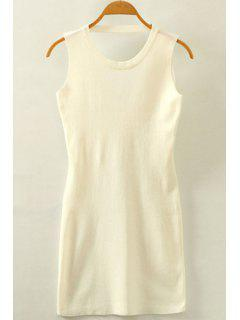 Packet Buttock Hollow Out Round Neck Sleeveless Dress - White