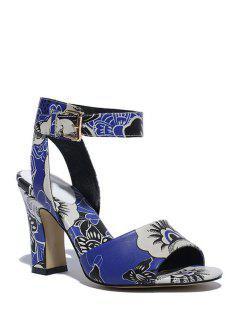 Floral Print Peep Toe Chunky Heel Sandals - Blue 39