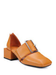 Square Toe Buckle Chunky Heel Pumps - Brown 39