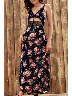 Floral Cami Lace Spliced Maxi Dress - Black L