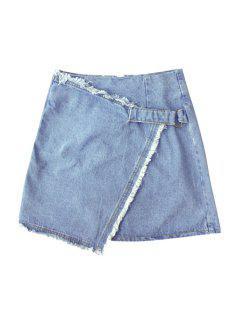 Solid Color Irregular Hem High Waist Denim Skirt - Light Blue L