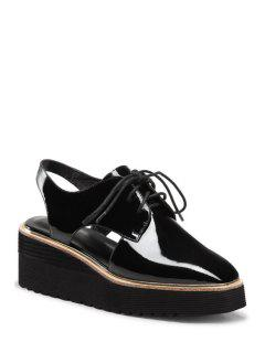 Slingback Square Toe Lace-Up Platform Shoes - Black 39