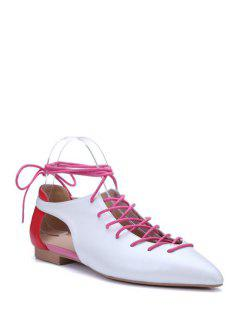 Color Matching Lace-Up Flat Shoes - White 38