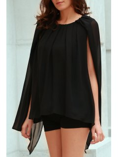 Solid Color Round Collar Chiffon Blouse - Black Xl