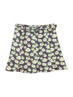 Flounce Ruffles Daisy Print High Waist Skirt - Deep Gray M