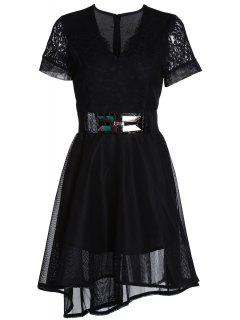 Lace V-Neck Short Sleeve Belted Dress - Black Xl